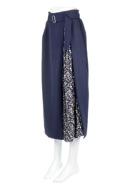 FloralPleatedPanelLongSkirtsプリーツ切り替え・ロングスカート大人カジュアルに最適な海外ファッションのothers(その他インポートアイテム)のボトムやスカート。人気のプリーツ切り替えタイプのロングスカート。チラ見せのプリーツ部分は同色系の小花柄。/main-5