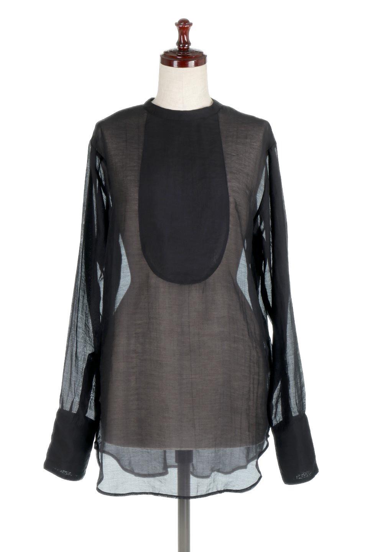 CottonPoplinBosomBlouseポプリン生地・ブザムブラウス大人カジュアルに最適な海外ファッションのothers(その他インポートアイテム)のトップスやシャツ・ブラウス。胸元の切り替えが特徴的な長袖のブザムブラウス。透け感が人気のポプリン素材を使用したのブラウスです。/main-10