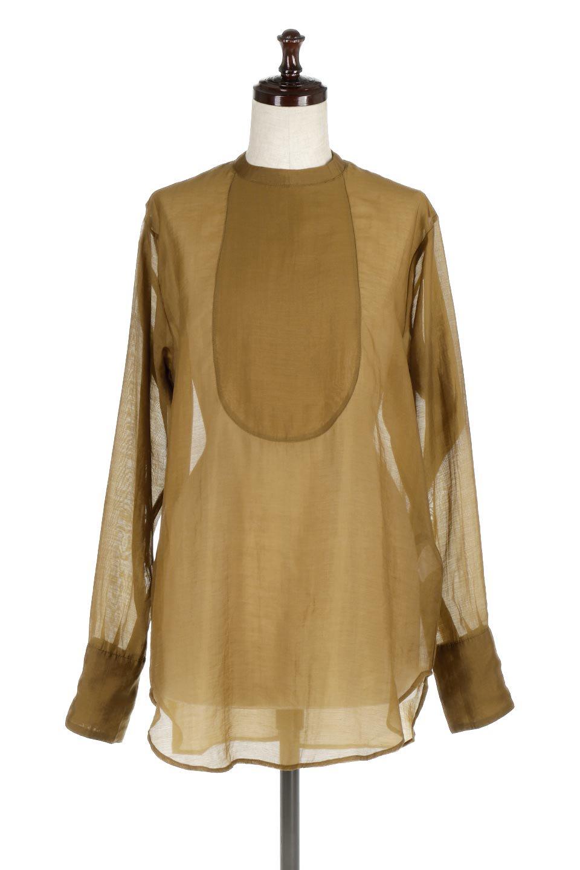 CottonPoplinBosomBlouseポプリン生地・ブザムブラウス大人カジュアルに最適な海外ファッションのothers(その他インポートアイテム)のトップスやシャツ・ブラウス。胸元の切り替えが特徴的な長袖のブザムブラウス。透け感が人気のポプリン素材を使用したのブラウスです。/main-5