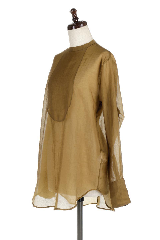 CottonPoplinBosomBlouseポプリン生地・ブザムブラウス大人カジュアルに最適な海外ファッションのothers(その他インポートアイテム)のトップスやシャツ・ブラウス。胸元の切り替えが特徴的な長袖のブザムブラウス。透け感が人気のポプリン素材を使用したのブラウスです。/main-6