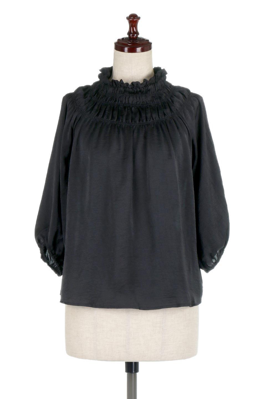 ShirringNeckSatinBlouseビンテージ風サテン・シャーリングブラウス大人カジュアルに最適な海外ファッションのothers(その他インポートアイテム)のトップスやシャツ・ブラウス。シャーリングを施した首周りが可愛いブラウス。渋めの光沢があるビンテージ風サテン生地を使用しています。/main-5