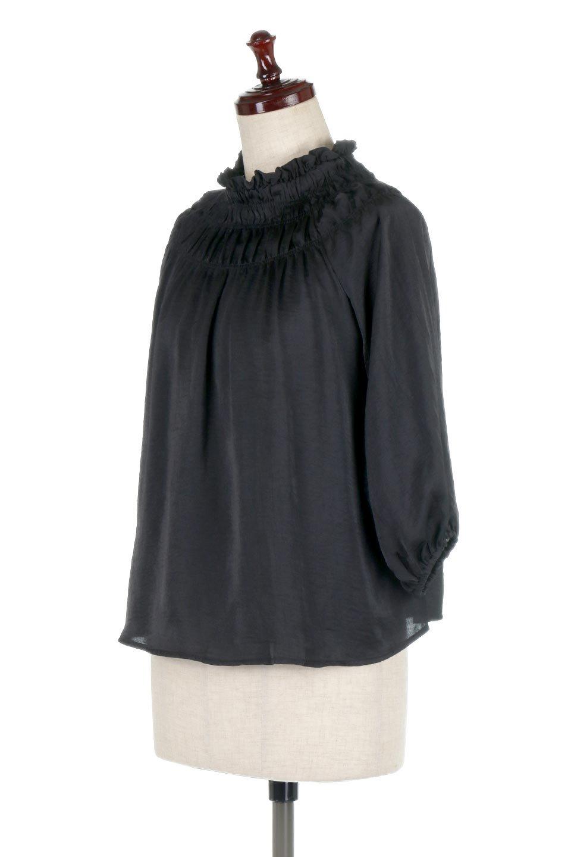 ShirringNeckSatinBlouseビンテージ風サテン・シャーリングブラウス大人カジュアルに最適な海外ファッションのothers(その他インポートアイテム)のトップスやシャツ・ブラウス。シャーリングを施した首周りが可愛いブラウス。渋めの光沢があるビンテージ風サテン生地を使用しています。/main-6