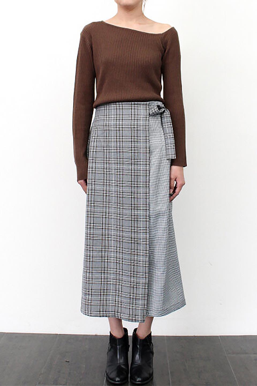 GlenCheckPaneledSkirtグレンチェック・切り替えスカート大人カジュアルに最適な海外ファッションのothers(その他インポートアイテム)のボトムやスカート。グレンチェックの切り替えが可愛いミディ丈スカート。2種類のチェックのコンビネーションで秋冬のコーディネートを楽しくしてくれます。/main-23