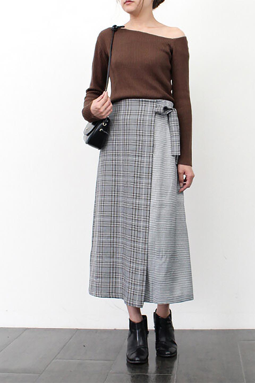 GlenCheckPaneledSkirtグレンチェック・切り替えスカート大人カジュアルに最適な海外ファッションのothers(その他インポートアイテム)のボトムやスカート。グレンチェックの切り替えが可愛いミディ丈スカート。2種類のチェックのコンビネーションで秋冬のコーディネートを楽しくしてくれます。/main-24