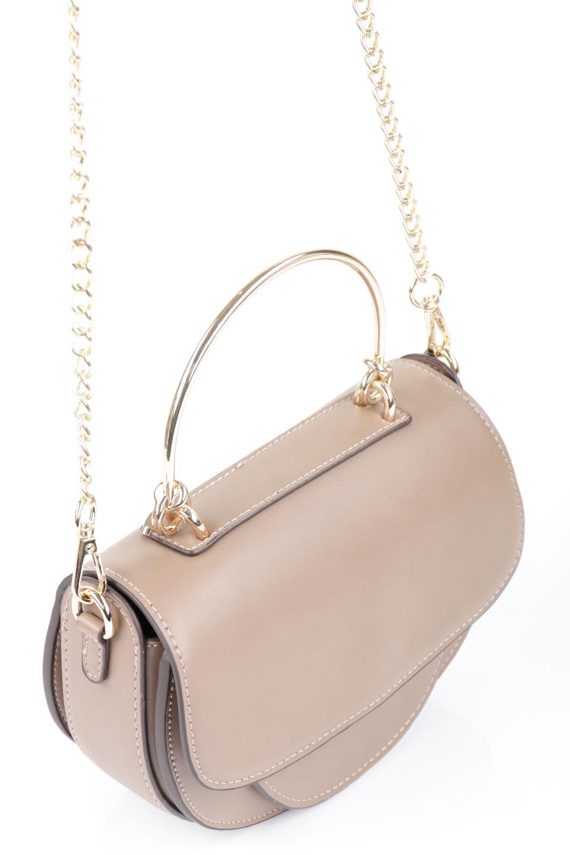 meliebiancoのIsabel(Taupe)ワンハンドル・2Wayミニバッグ/海外ファッション好きにオススメのインポートバッグとかばん、MelieBianco(メリービアンコ)のバッグやショルダーバッグ。ゴールドのメタルハンドルがアクセントのミニハンドバッグ。丸みを帯びたラウンドタイプはメリービアンコの本国アメリカはもちろんヨーロッパでも人気のシルエット。/main-6