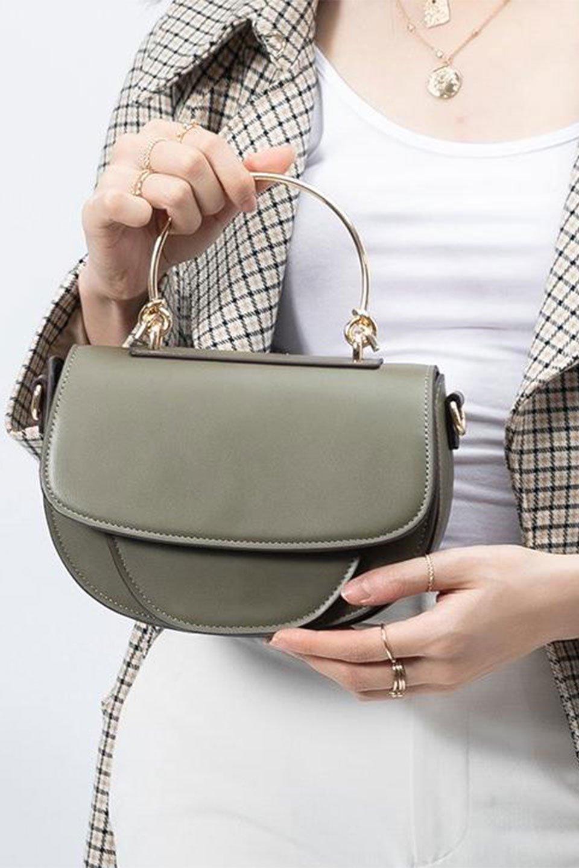 meliebiancoのIsabel(Olive)ワンハンドル・2Wayミニバッグ/海外ファッション好きにオススメのインポートバッグとかばん、MelieBianco(メリービアンコ)のバッグやショルダーバッグ。ゴールドのメタルハンドルがアクセントのミニハンドバッグ。丸みを帯びたラウンドタイプはメリービアンコの本国アメリカはもちろんヨーロッパでも人気のシルエット。/main-14