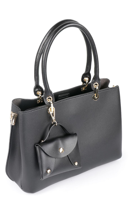 meliebiancoのBridget(Black)コインバッグ付き・ハンドバッグ/海外ファッション好きにオススメのインポートバッグとかばん、MelieBianco(メリービアンコ)のバッグやハンドバッグ。ちょこんとぶら下がったコインポーチが可愛いアクセントのハンドバッグ。センターの荷室とその横の大き目ポケットがとても使いやすそうなハンドバッグです。/main-6