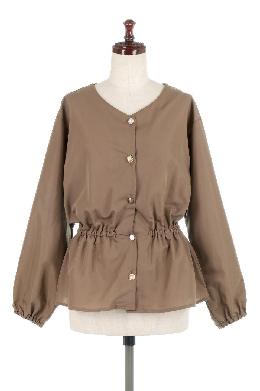 WaistGatheredBlouseウエストギャザー・ブラウス大人カジュアルに最適な海外ファッションのothers(その他インポートアイテム)のトップスやシャツ・ブラウス。スッキリとした首周りで人気の長袖ブラウス。数種類のボタンをアクセントして使用して可愛らしさもアピール。/main-10