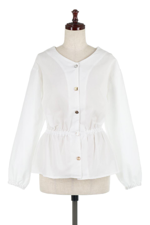WaistGatheredBlouseウエストギャザー・ブラウス大人カジュアルに最適な海外ファッションのothers(その他インポートアイテム)のトップスやシャツ・ブラウス。スッキリとした首周りで人気の長袖ブラウス。数種類のボタンをアクセントして使用して可愛らしさもアピール。/main-5