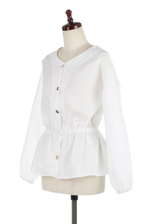 WaistGatheredBlouseウエストギャザー・ブラウス大人カジュアルに最適な海外ファッションのothers(その他インポートアイテム)のトップスやシャツ・ブラウス。スッキリとした首周りで人気の長袖ブラウス。数種類のボタンをアクセントして使用して可愛らしさもアピール。/main-6