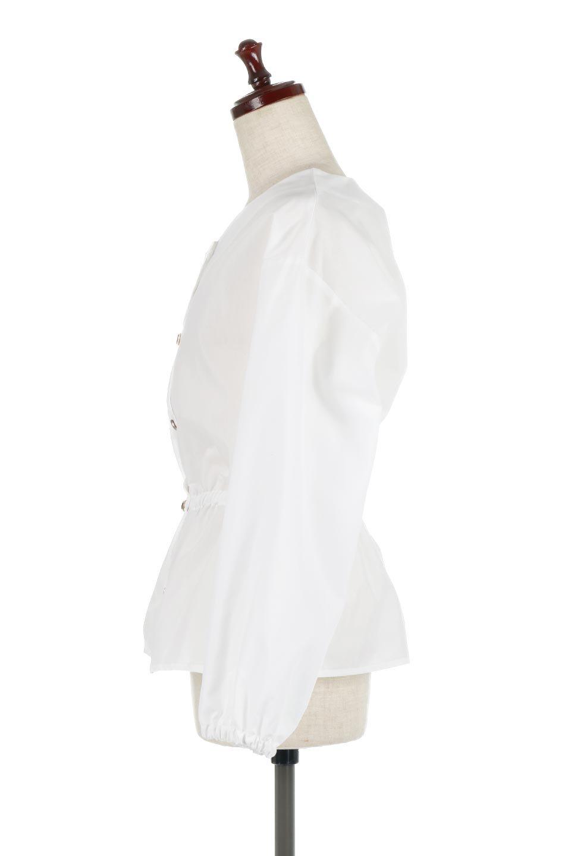 WaistGatheredBlouseウエストギャザー・ブラウス大人カジュアルに最適な海外ファッションのothers(その他インポートアイテム)のトップスやシャツ・ブラウス。スッキリとした首周りで人気の長袖ブラウス。数種類のボタンをアクセントして使用して可愛らしさもアピール。/main-7