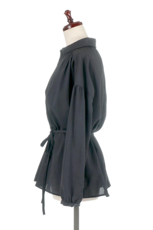 WaistTiedShirtsBlouseウエストマーク・シャツブラウス大人カジュアルに最適な海外ファッションのothers(その他インポートアイテム)のトップスやシャツ・ブラウス。シャツとブラウスのいいとこ取りの長袖アイテム。シャツジャケットのように着ても良し、ボトムにインしてブラウス感覚で着ても良し。/main-17