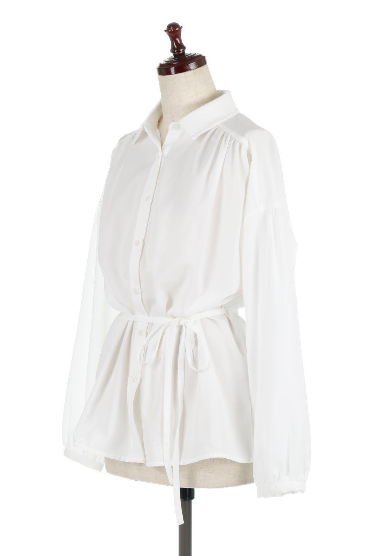 WaistTiedShirtsBlouseウエストマーク・シャツブラウス大人カジュアルに最適な海外ファッションのothers(その他インポートアイテム)のトップスやシャツ・ブラウス。シャツとブラウスのいいとこ取りの長袖アイテム。シャツジャケットのように着ても良し、ボトムにインしてブラウス感覚で着ても良し。/main-6