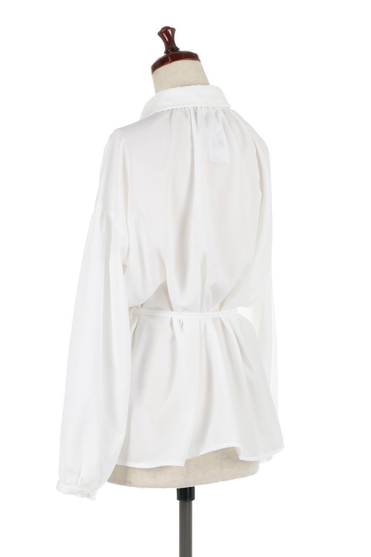 WaistTiedShirtsBlouseウエストマーク・シャツブラウス大人カジュアルに最適な海外ファッションのothers(その他インポートアイテム)のトップスやシャツ・ブラウス。シャツとブラウスのいいとこ取りの長袖アイテム。シャツジャケットのように着ても良し、ボトムにインしてブラウス感覚で着ても良し。/main-8