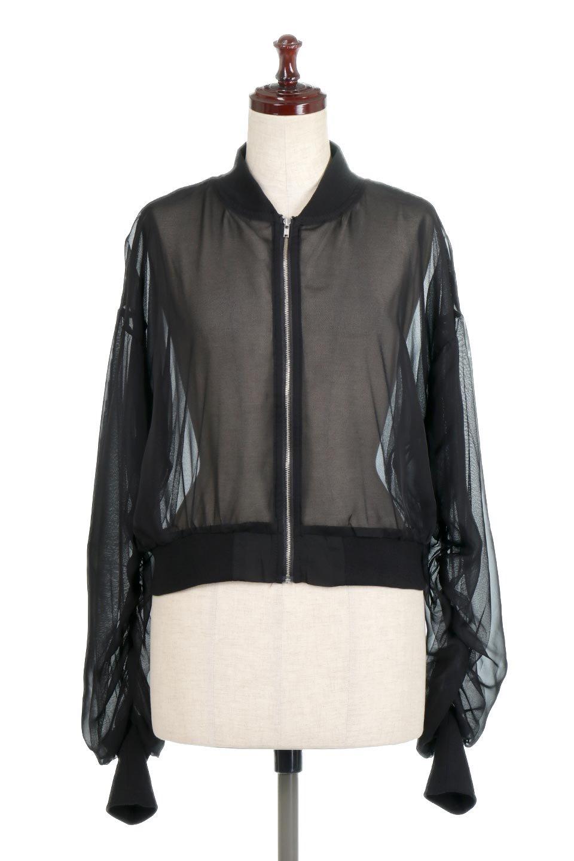 SheerShortBlousonチュール・MA−1ブルゾン大人カジュアルに最適な海外ファッションのothers(その他インポートアイテム)のアウターやジャケット。ほんのり透け感が楽しめるMA-1タイプのブルゾン。充分にゆとりを持たせた袖が透け感を演出します。