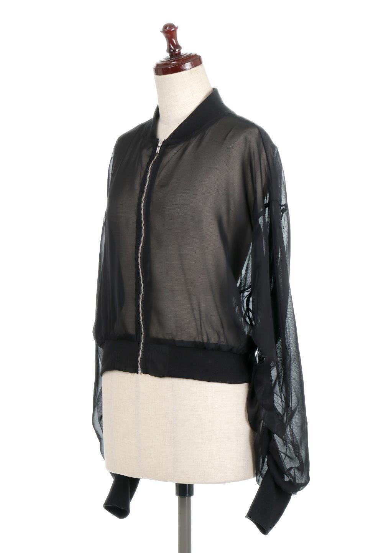 SheerShortBlousonチュール・MA−1ブルゾン大人カジュアルに最適な海外ファッションのothers(その他インポートアイテム)のアウターやジャケット。ほんのり透け感が楽しめるMA-1タイプのブルゾン。充分にゆとりを持たせた袖が透け感を演出します。/main-1