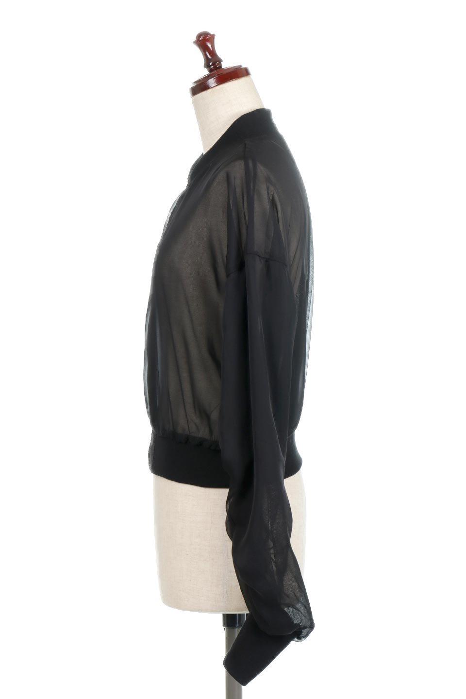 SheerShortBlousonチュール・MA−1ブルゾン大人カジュアルに最適な海外ファッションのothers(その他インポートアイテム)のアウターやジャケット。ほんのり透け感が楽しめるMA-1タイプのブルゾン。充分にゆとりを持たせた袖が透け感を演出します。/main-2