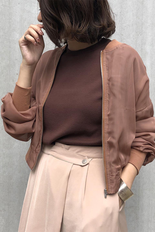 SheerShortBlousonチュール・MA−1ブルゾン大人カジュアルに最適な海外ファッションのothers(その他インポートアイテム)のアウターやジャケット。ほんのり透け感が楽しめるMA-1タイプのブルゾン。充分にゆとりを持たせた袖が透け感を演出します。/main-23