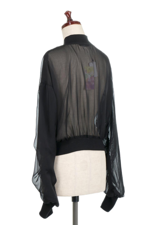 SheerShortBlousonチュール・MA−1ブルゾン大人カジュアルに最適な海外ファッションのothers(その他インポートアイテム)のアウターやジャケット。ほんのり透け感が楽しめるMA-1タイプのブルゾン。充分にゆとりを持たせた袖が透け感を演出します。/main-3