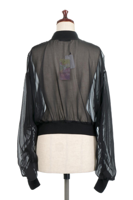 SheerShortBlousonチュール・MA−1ブルゾン大人カジュアルに最適な海外ファッションのothers(その他インポートアイテム)のアウターやジャケット。ほんのり透け感が楽しめるMA-1タイプのブルゾン。充分にゆとりを持たせた袖が透け感を演出します。/main-4