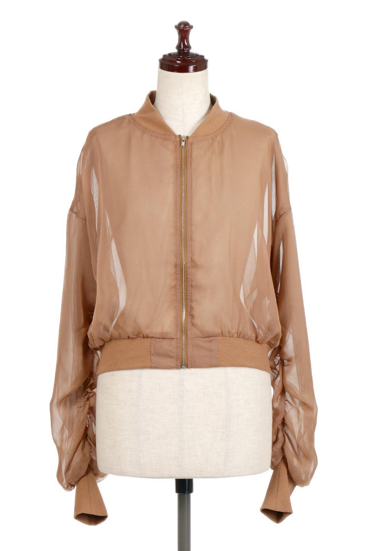 SheerShortBlousonチュール・MA−1ブルゾン大人カジュアルに最適な海外ファッションのothers(その他インポートアイテム)のアウターやジャケット。ほんのり透け感が楽しめるMA-1タイプのブルゾン。充分にゆとりを持たせた袖が透け感を演出します。/main-5