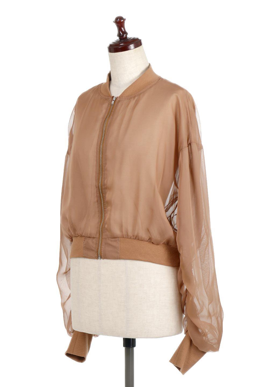 SheerShortBlousonチュール・MA−1ブルゾン大人カジュアルに最適な海外ファッションのothers(その他インポートアイテム)のアウターやジャケット。ほんのり透け感が楽しめるMA-1タイプのブルゾン。充分にゆとりを持たせた袖が透け感を演出します。/main-6