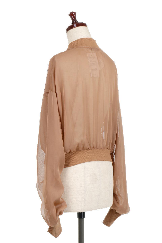 SheerShortBlousonチュール・MA−1ブルゾン大人カジュアルに最適な海外ファッションのothers(その他インポートアイテム)のアウターやジャケット。ほんのり透け感が楽しめるMA-1タイプのブルゾン。充分にゆとりを持たせた袖が透け感を演出します。/main-8