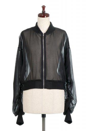 海外ファッションや大人カジュアルに最適なインポートセレクトアイテムのSheer Short Blouson チュール・MA−1ブルゾン