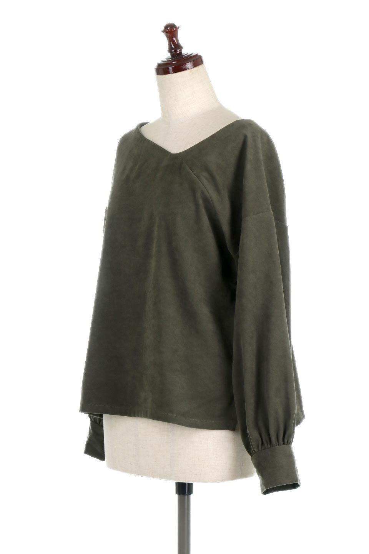 AsymmetricalV-NeckBlouseアシメントリー・Vネックブラウス大人カジュアルに最適な海外ファッションのothers(その他インポートアイテム)のアウターやジャケット。左右非対称のアシメントリーデザインが可愛い長袖ブラウス。温かみのある起毛されたヌバック風素材が季節感を演出。/main-11
