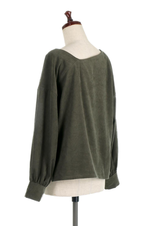 AsymmetricalV-NeckBlouseアシメントリー・Vネックブラウス大人カジュアルに最適な海外ファッションのothers(その他インポートアイテム)のアウターやジャケット。左右非対称のアシメントリーデザインが可愛い長袖ブラウス。温かみのある起毛されたヌバック風素材が季節感を演出。/main-13
