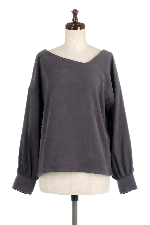 AsymmetricalV-NeckBlouseアシメントリー・Vネックブラウス大人カジュアルに最適な海外ファッションのothers(その他インポートアイテム)のアウターやジャケット。左右非対称のアシメントリーデザインが可愛い長袖ブラウス。温かみのある起毛されたヌバック風素材が季節感を演出。/main-15