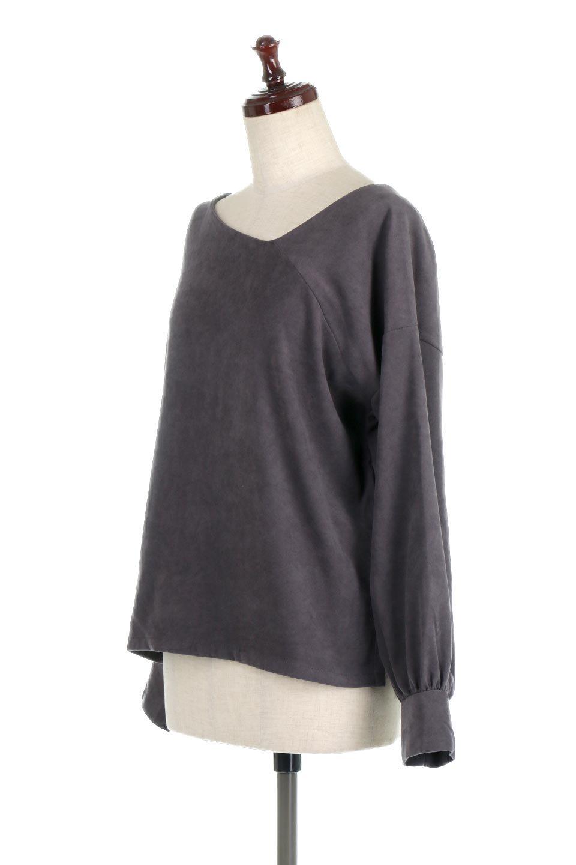 AsymmetricalV-NeckBlouseアシメントリー・Vネックブラウス大人カジュアルに最適な海外ファッションのothers(その他インポートアイテム)のアウターやジャケット。左右非対称のアシメントリーデザインが可愛い長袖ブラウス。温かみのある起毛されたヌバック風素材が季節感を演出。/main-16