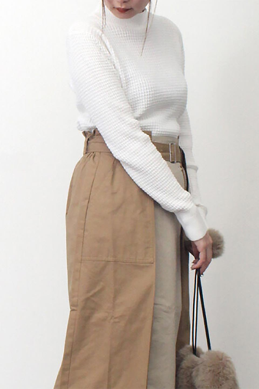 CottonWaffleHigh-NeckTopワッフル・ハイネックトップス大人カジュアルに最適な海外ファッションのothers(その他インポートアイテム)のトップスやカットソー。アウターのインナーとしても大活躍間違い無しのワッフル・ハイネックトップス。ハイネックのシンプルデザインと長めの袖が可愛いトップスです。/main-25