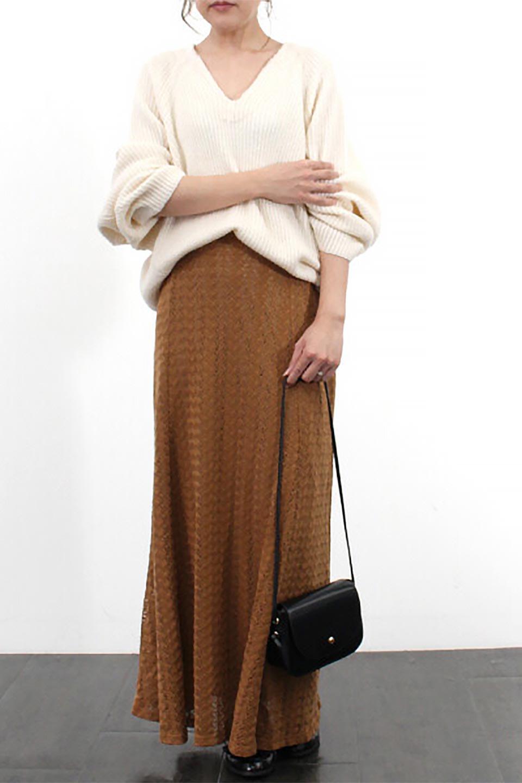 TextureWeaveMermaidSkirt模様編み・マーメイドスカート大人カジュアルに最適な海外ファッションのothers(その他インポートアイテム)のボトムやスカート。上品な模様編みを施したマキシ丈のマーメイドスカート。モデルの写真の通り超脚長効果が期待できる美脚スカートです。/main-28