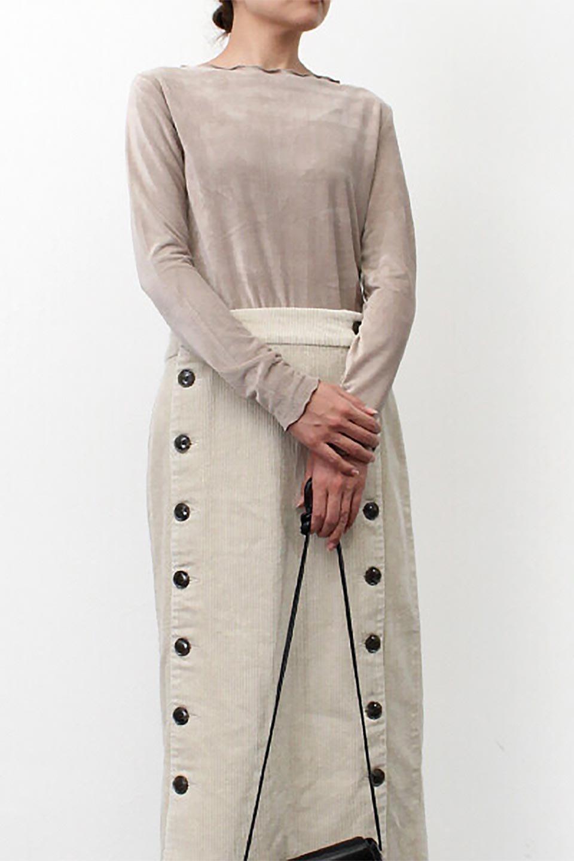 VelourCorduroyBoatNeckTopベロアコーデュロイ・ボートネックトップス大人カジュアルに最適な海外ファッションのothers(その他インポートアイテム)のトップスやカットソー。上品な光沢感が自慢のベロア個ーづロイを使用したトップス。凹凸感のあるストレッチ素材なので、細身の袖でも窮屈感はありません。/main-31