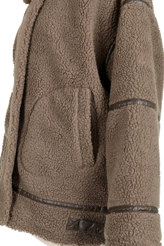 BoaFleeceFlightJacketボアフリース・フライトジャケット大人カジュアルに最適な海外ファッションのothers(その他インポートアイテム)のアウターやコート。フカフカのボアフリースを使用したフライトジャケット風のショートコート。メンズライクなディテールのジャケットをオーバーサイズで可愛く着崩せます。/main-13