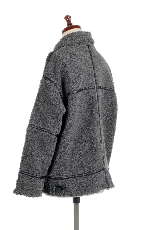 BoaFleeceFlightJacketボアフリース・フライトジャケット大人カジュアルに最適な海外ファッションのothers(その他インポートアイテム)のアウターやコート。フカフカのボアフリースを使用したフライトジャケット風のショートコート。メンズライクなディテールのジャケットをオーバーサイズで可愛く着崩せます。/main-8