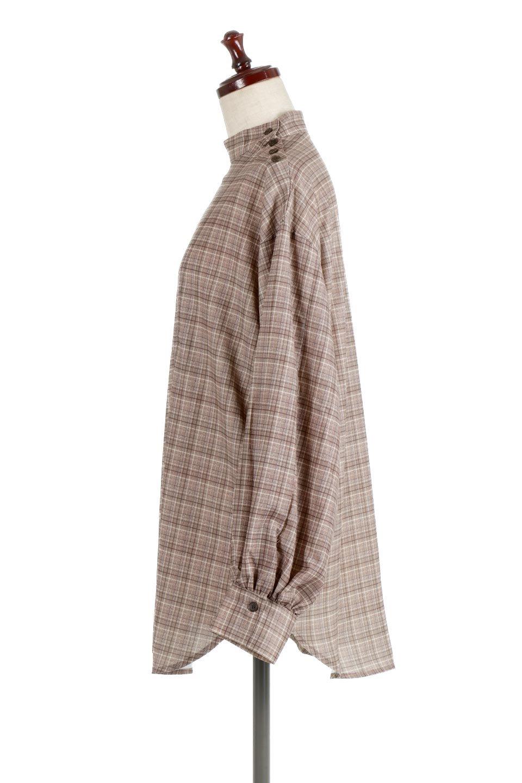 CheckPrintedLongBlouseチェック柄・ロングブラウス大人カジュアルに最適な海外ファッションのothers(その他インポートアイテム)のトップスやシャツ・ブラウス。ゆったりシルエットのスタンドカラーブラウス。微妙な半端丈でブラウジングなどでも楽しめる便利なロングブラウス。/main-12