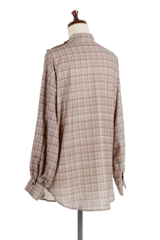 CheckPrintedLongBlouseチェック柄・ロングブラウス大人カジュアルに最適な海外ファッションのothers(その他インポートアイテム)のトップスやシャツ・ブラウス。ゆったりシルエットのスタンドカラーブラウス。微妙な半端丈でブラウジングなどでも楽しめる便利なロングブラウス。/main-13