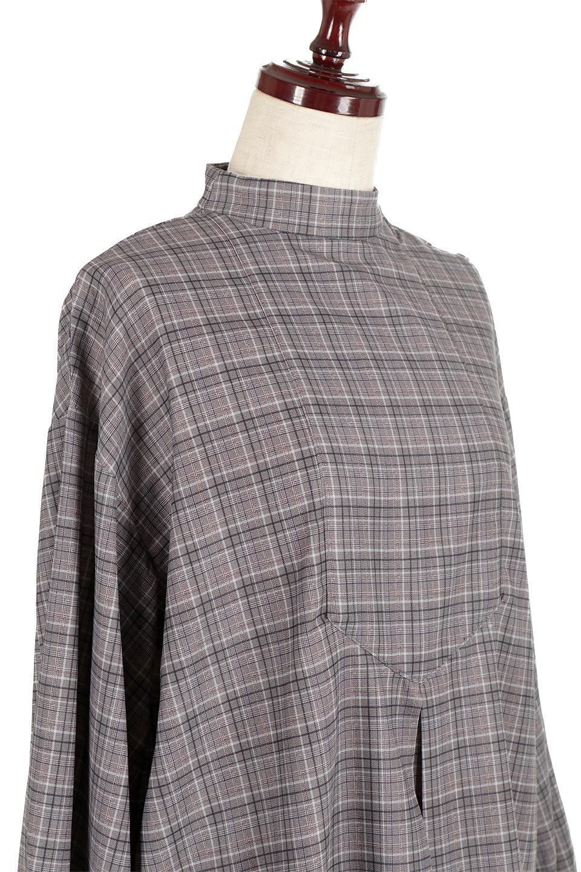 CheckPrintedLongBlouseチェック柄・ロングブラウス大人カジュアルに最適な海外ファッションのothers(その他インポートアイテム)のトップスやシャツ・ブラウス。ゆったりシルエットのスタンドカラーブラウス。微妙な半端丈でブラウジングなどでも楽しめる便利なロングブラウス。/main-15