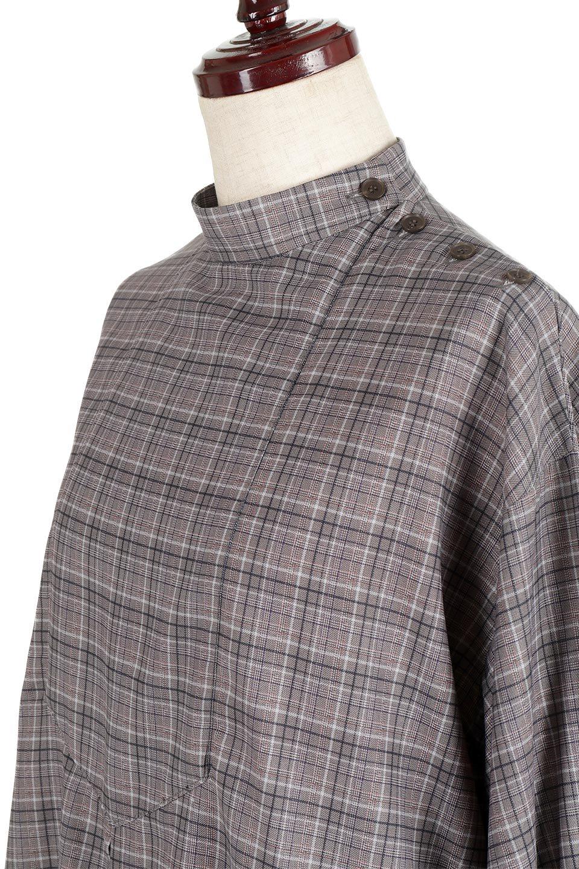 CheckPrintedLongBlouseチェック柄・ロングブラウス大人カジュアルに最適な海外ファッションのothers(その他インポートアイテム)のトップスやシャツ・ブラウス。ゆったりシルエットのスタンドカラーブラウス。微妙な半端丈でブラウジングなどでも楽しめる便利なロングブラウス。/main-16