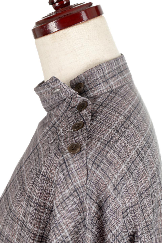 CheckPrintedLongBlouseチェック柄・ロングブラウス大人カジュアルに最適な海外ファッションのothers(その他インポートアイテム)のトップスやシャツ・ブラウス。ゆったりシルエットのスタンドカラーブラウス。微妙な半端丈でブラウジングなどでも楽しめる便利なロングブラウス。/main-17