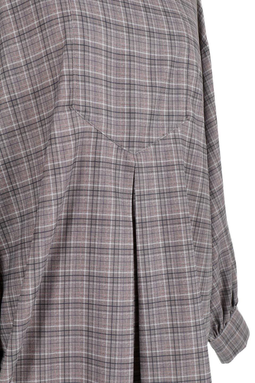 CheckPrintedLongBlouseチェック柄・ロングブラウス大人カジュアルに最適な海外ファッションのothers(その他インポートアイテム)のトップスやシャツ・ブラウス。ゆったりシルエットのスタンドカラーブラウス。微妙な半端丈でブラウジングなどでも楽しめる便利なロングブラウス。/main-18