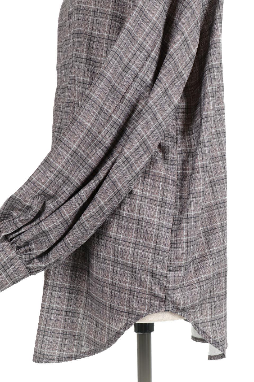 CheckPrintedLongBlouseチェック柄・ロングブラウス大人カジュアルに最適な海外ファッションのothers(その他インポートアイテム)のトップスやシャツ・ブラウス。ゆったりシルエットのスタンドカラーブラウス。微妙な半端丈でブラウジングなどでも楽しめる便利なロングブラウス。/main-19
