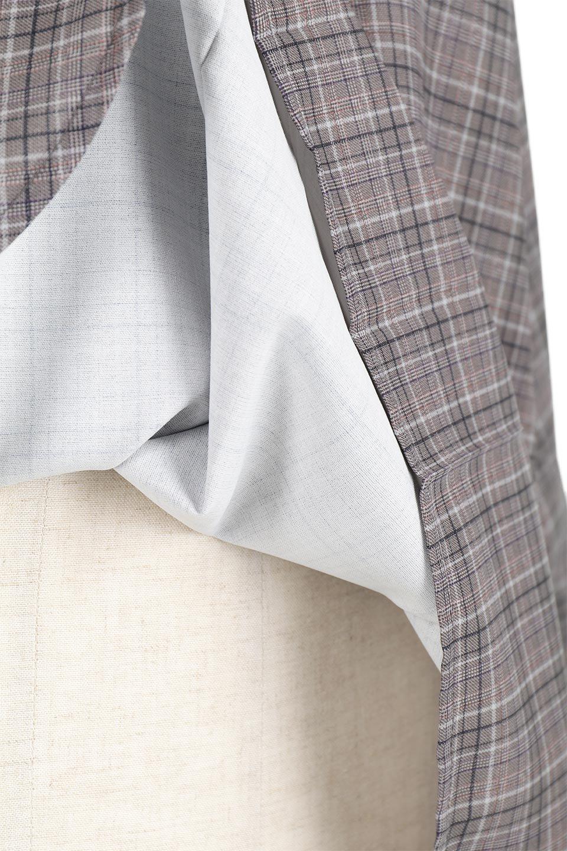 CheckPrintedLongBlouseチェック柄・ロングブラウス大人カジュアルに最適な海外ファッションのothers(その他インポートアイテム)のトップスやシャツ・ブラウス。ゆったりシルエットのスタンドカラーブラウス。微妙な半端丈でブラウジングなどでも楽しめる便利なロングブラウス。/main-21