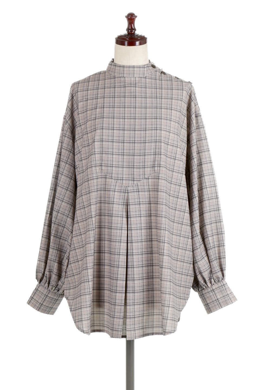 CheckPrintedLongBlouseチェック柄・ロングブラウス大人カジュアルに最適な海外ファッションのothers(その他インポートアイテム)のトップスやシャツ・ブラウス。ゆったりシルエットのスタンドカラーブラウス。微妙な半端丈でブラウジングなどでも楽しめる便利なロングブラウス。/main-5