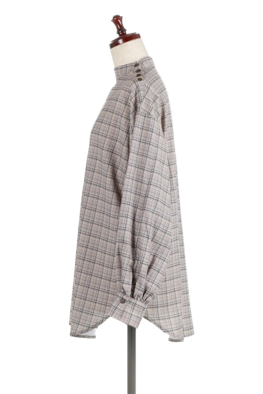 CheckPrintedLongBlouseチェック柄・ロングブラウス大人カジュアルに最適な海外ファッションのothers(その他インポートアイテム)のトップスやシャツ・ブラウス。ゆったりシルエットのスタンドカラーブラウス。微妙な半端丈でブラウジングなどでも楽しめる便利なロングブラウス。/main-7