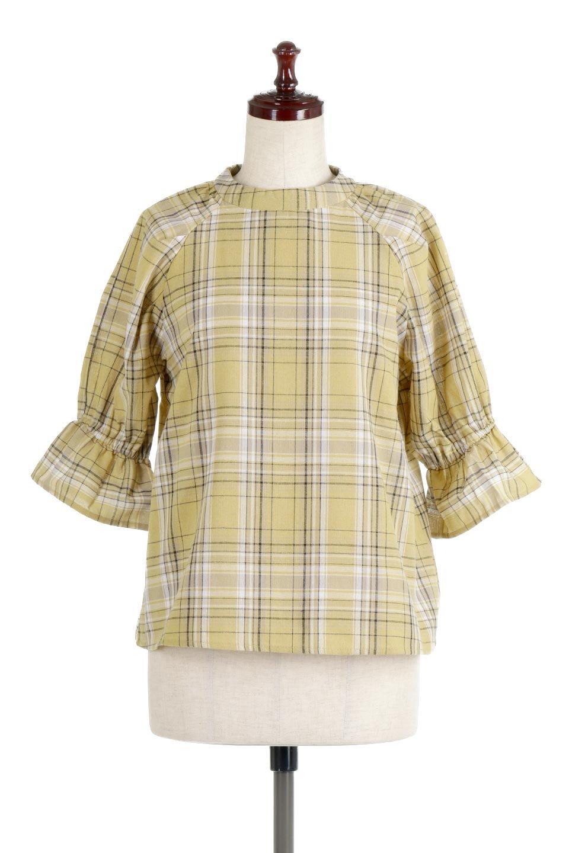 CandySleeveCheckBlouseキャンディースリーブ・チェック柄ブラウス大人カジュアルに最適な海外ファッションのothers(その他インポートアイテム)のトップスやシャツ・ブラウス。キャンディースリーブのボリュームが可愛いブラウス。チェック柄とシンプルな首周りでコーディネートの幅が広がります。/main-10