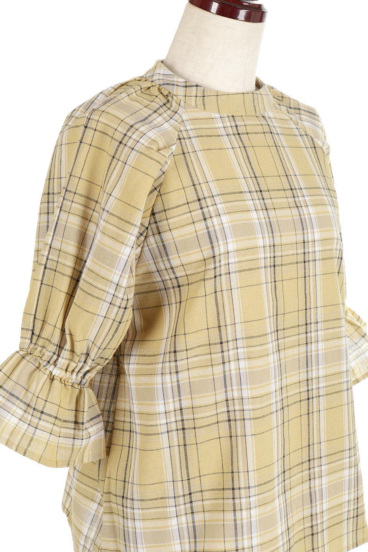CandySleeveCheckBlouseキャンディースリーブ・チェック柄ブラウス大人カジュアルに最適な海外ファッションのothers(その他インポートアイテム)のトップスやシャツ・ブラウス。キャンディースリーブのボリュームが可愛いブラウス。チェック柄とシンプルな首周りでコーディネートの幅が広がります。/main-20
