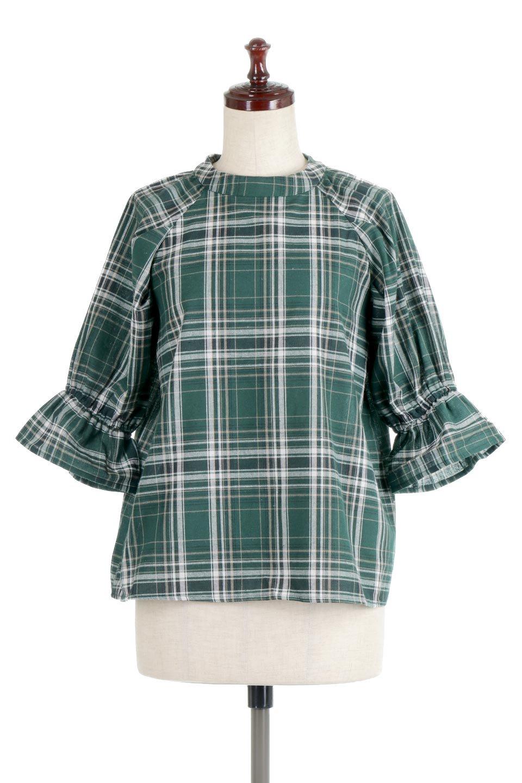 CandySleeveCheckBlouseキャンディースリーブ・チェック柄ブラウス大人カジュアルに最適な海外ファッションのothers(その他インポートアイテム)のトップスやシャツ・ブラウス。キャンディースリーブのボリュームが可愛いブラウス。チェック柄とシンプルな首周りでコーディネートの幅が広がります。/main-5